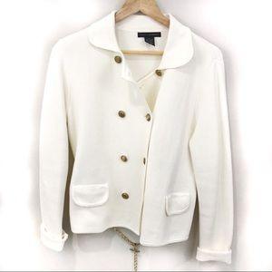 Grace Elements White Blazer With Gold Belt Medium